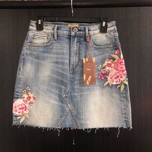 Driftwood Floral Embroidered Jean Skirts